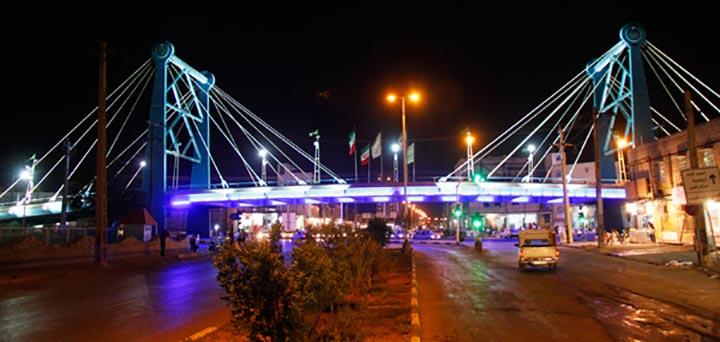 پل کابلی آبادان | جاهای دیدنی آبادان در شب