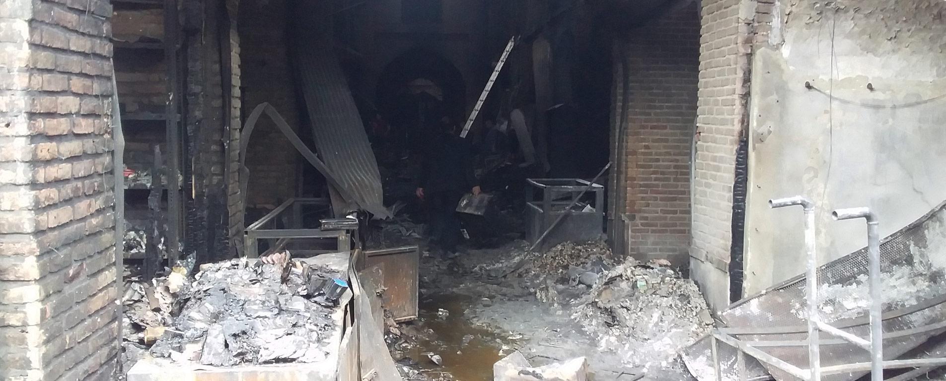 آتش سوزی بازار تبریز ۲۰ میلیارد تومان خسارت به بار آورد