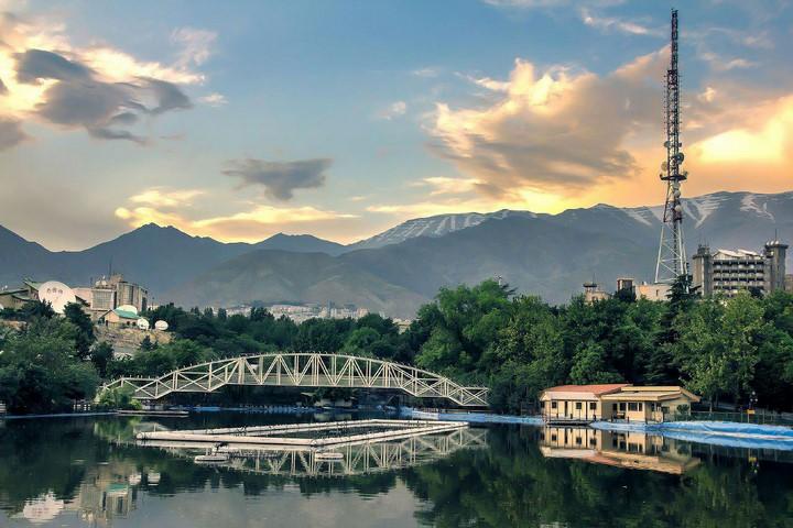 پارک ملت - غروب دریاچه